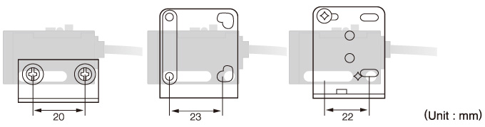 The slotted mounting hole (25.4 mm pitch) allows the sensor to be used with various types of mounting brackets.