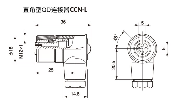 90 degree QD connector CCN-L